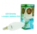 LED Teslux C30 - E14 - 4W-3000K, 323 Lumen